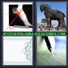 4 Fotos 1 Palabra - Radiografia Caballo De Troya Cheque Chequera |