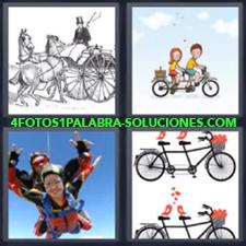 4 fotos 1 Palabra - 6 letras: bicicletas dobles Carruaje de caballos Dos tirandose en paracaidas |
