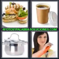 4 Fotos 1 Palabra - 4 Letras: Cacerola, Bocadillos, Café Para Llevar, Cacerola, Señora Abriendo Un Envase. |