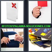 Tarjeta con lazo rojo, Tarjeta roja, Mujer recibiendo tarjeta de contacto, Tarjetas de Crédito