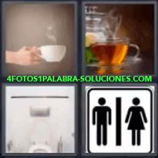 4 Fotos 1 Palabra - 4 Letras: Vater, Manos Con Una Bebidacaliente, Te, Vater, Cartel Wc. |
