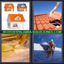 4 Fotos 1 Palabra - Casa Colocando Placas Solares Obrero Construyendo Reparando Tejado Tres Casas |
