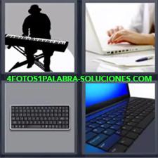 4 Fotos 1 Palabra - Computadora portátil Mujer con un ordenador Mac portátil Sintetizador Sombra hombre tocando el piano electrónico teclado de ordenador fijo |