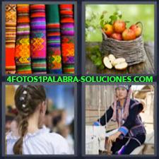 4 Fotos 1 Palabra - Telas De Colores Cesto De Manzanas Coleta O Trenza De Una Mujer Mujer Con Un Telar |