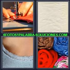 4 fotos 1 Palabra - 6 letras: coser telas Cosiendo Maquina de coser Telas |