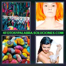 4 Fotos 1 Palabra - Ropa Colgada De Colores Mujer Arreglandose El Pelo Mujer Pelirroja Ovillos De Lana De Colorines |