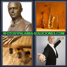4 Fotos 1 Palabra - Estatua Instrumentos Prismáticos Señor Cantando |