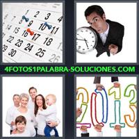 Calendario, Almanaque, Hombre con reloj en la mano, Familia vestida de blanco, 2013 |