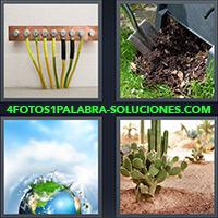 Conexión de cables, Pala haciendo un pozo, Globo terráqueo o mundo, Cactus en el desierto