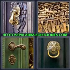 4 Fotos 1 Palabra - manijas Cerradura Maderas Mano de hierro para llamar a la puerta Picaporte |