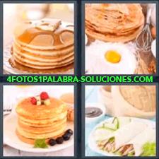 4 Fotos 1 Palabra - Crepe o crepas panqueques o pancakes Tacos Tortilla y huevo frito Tortillas con miel |