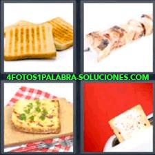 4 Fotos 1 Palabra - ajo y perejil pan con queso rebanada de pan en la tostadora |