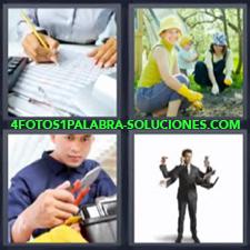 4 Fotos 1 Palabra - mecánico jardinería Ejecutivo con muchos brazos Persona trabajando en oficina |
