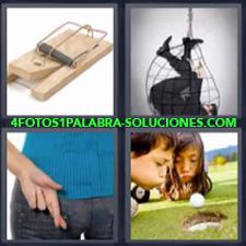 4 fotos 1 Palabra - 6 letras: Hombre atrapado Mujer con dedos cruzados Niños soplando pelota Ratonera o cebo para ratones |