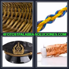 4 Fotos 1 Palabra - cuerda mimbre Gorra o sombrero de marinero o capitán de barco |