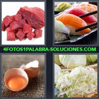 Pedazos de Carne Cruda, Sushi, Huevo partido, Lechuga |