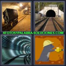4 Fotos 1 Palabra - Subterraneo Dibujo Animal Taladrando O Perforando Bajo Tierra Vagon Mina Vias De Tren Vias O Railes De Metro |