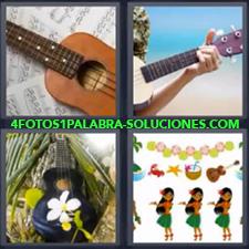 4 Fotos 1 Palabra - guitarra hawaiana Hawaianas o Hawai Instrumento de música Parecido a un banjo |