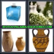 4 Fotos 1 Palabra - 4 Letras: Jarrones, Caja Azul Con Un Sobre, Plantas Y Velas, Anforas, Jarrón. |
