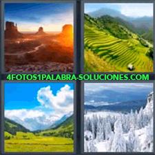 4 Fotos 1 Palabra - Fotografía De Prados Ladera Montaña Verde Montañas Con Bosque Nevados Paisajes Oeste Americano |