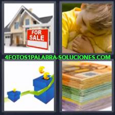 4 Fotos 1 Palabra - casa en venta billetes Billetes euros Cajas azules y flechas verdes ascendentes Niño de amarillo abrazando a osito de peluche |