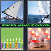 Velero en el mar, Velas de cumpleaños, Velas rojas encendidas, Barco Velero, Yate |