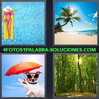 Mujer en piscina sobre un inflable, Palmera y playa, Perro con sombrilla color rojo