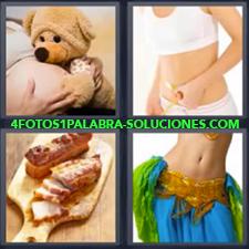 4 Fotos 1 Palabra - bailarina Chica de blanco con cinta métrica Embarazada con osito de peluche Tabla de madera con carne |