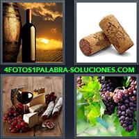 4 Fotos 1 Palabra - Botella y Barril sobre atardecer |