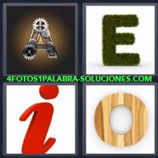 4 Fotos 1 Palabra - A A metálica E E de hierba I I roja O O de madera |