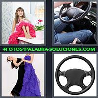 Niña con vestido rosa, Hombre conduciendo un coche, Mujeres con vestidos, Volante de carro