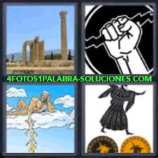 4 Fotos 1 Palabra - 4 Letras: Columnas, Dios Griego, Hombre Andando Sobre Discos, Mano Con Un Rayo |