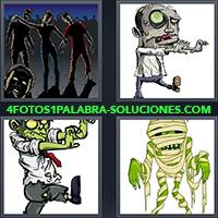 4 Fotos 1 Palabra - Caricaturas de Zombi caminando |