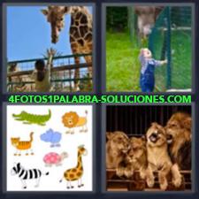 4 Fotos 1 Palabra - Bebé Con Jirafa Dibujos De Animales Leones Niña Con Jirafa |